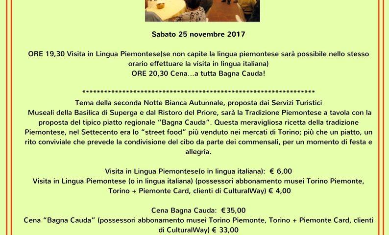 25 novembre – Notte bianca a Superga: Degustazione di Bagna Cauda e ...